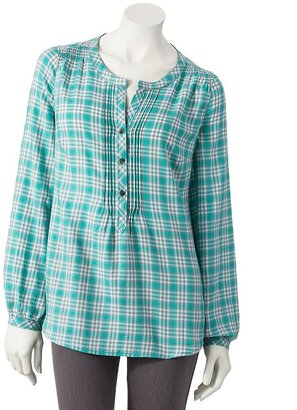 Sonoma life + style ® plaid pintuck henley - women's