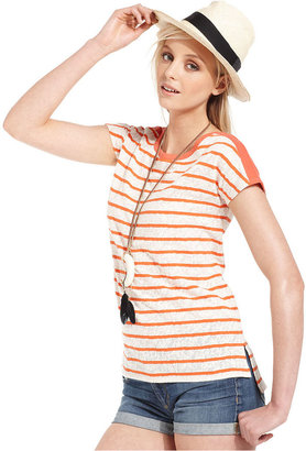 Lucky Brand Jeans Top, Short-Sleeve High-Neck Striped Tee