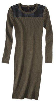 Green & Black labworks Women's Sweater Dress w/Faux Leather - Green/Black