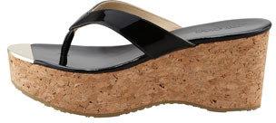 Jimmy Choo Pathos Patent Leather Cork Thong Sandal, Black
