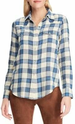 Chaps Petite Straight-Fit Cotton Button-Down Shirt