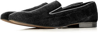Topman Black Pony Hair Slippers