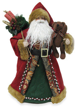 Bed Bath & Beyond 18-Inch Santa Tree Topper with Vintage Red Fabric Robe