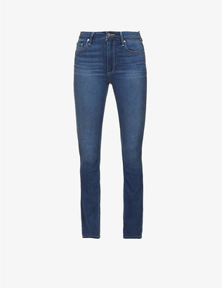 Paige Ladies Blue Leather Denim Tristan Hoxton Skinny High-Rise Jeans, Size: 23