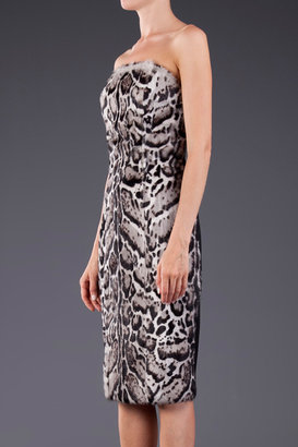 Christopher Kane Jaguar Print Strapless Dress