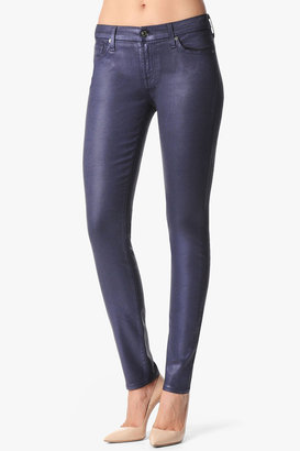 7 For All Mankind The Skinny In High Gloss Leather-Like Majestic Purple Shimmer