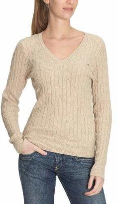 Gant Women's STRETCH COTTON CABLE V-NECK Long Sleeve Jumper - Beige (SAND MELANGE), (Manufacture Size:Small)