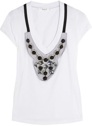 Milly Skyler embellished cotton-jersey T-shirt