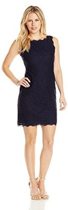 Adrianna Papell Women's Petite Sleeveless Lace Short Dress