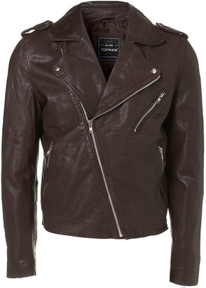 Topman Oxblood Leather Biker Jacket
