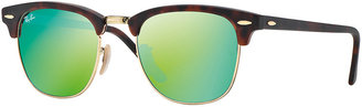 Ray-Ban Clubmaster Sunglasses with Green Mirror Lens, Havana