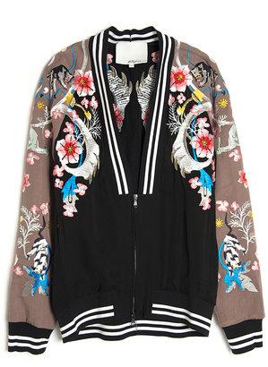 3.1 Phillip Lim Flower Print Bomber Jacket
