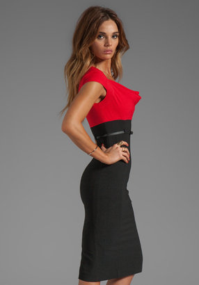 Black Halo Virtue Colorblocked Dress in Black/Wildfire
