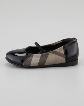 Burberry Check Patent-Trim Mary Jane Ballerina, Toddler
