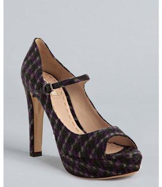Miu Miu Miu violet tweed peep toe mary jane pumps