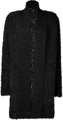 Antik Batik Black Alpaca-Wool Bouclè Knit Long Cardigan