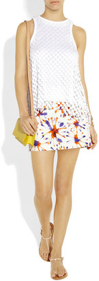 Milly Firework printed cotton-blend broadcloth mini skirt