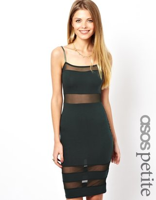 Asos Exclusive Cami Midi Dress With Mesh Insert