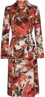 Erdem Leta printed sateen-twill trench coat