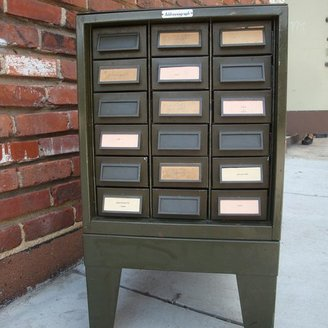 A Virgo's View Industrial Cabinet Side Table