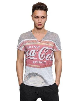 Dolce & Gabbana Coca Cola Print V Neck T-Shirt