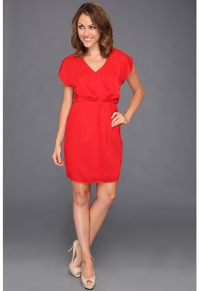 Vince Camuto Blouson Dress w/ CF Knot Detail (Red) - Apparel
