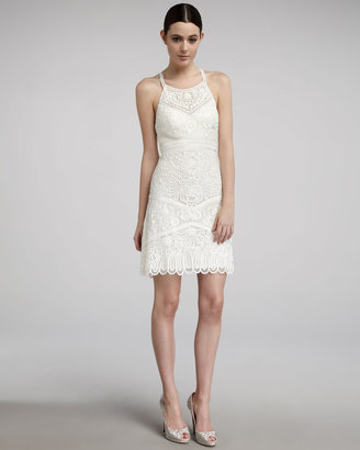 Sue Wong Embroidered High-Neck Dress
