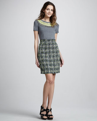Milly Plaid Pencil Skirt