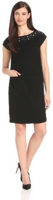 Anne Klein Women's Luxe Crepe Embellished Shift Dress