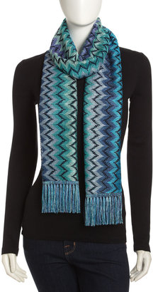 Missoni Zigzag Knit Scarf, Blue/Green/Purple