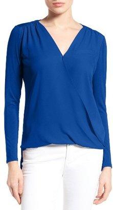 Women's Vince Camuto Georgette & Jersey Faux Wrap Blouse $74 thestylecure.com