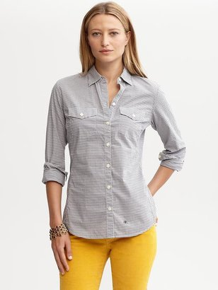 Banana Republic Soft-wash mini-gingham shirt