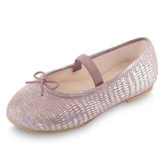 Bloch Shoes - Toddler Girl's Ayano Metallic Print Ballet Flats w/ Strap - Shell Pink