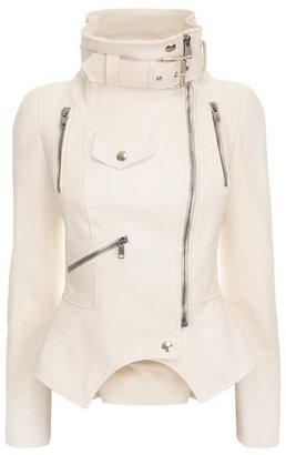 Alexander McQueen Funnel Neck Leather Jacket