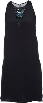 3.1 Phillip Lim Sleeveless Silk Shift Dress With Embroidered Neck