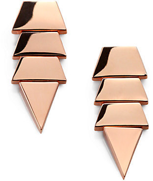 Eddie Borgo Scaled Triangle Drop Earrings/Rose Goldtone