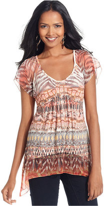 Style&Co. Petite Top, Short-Sleeve Printed Empire-Waist