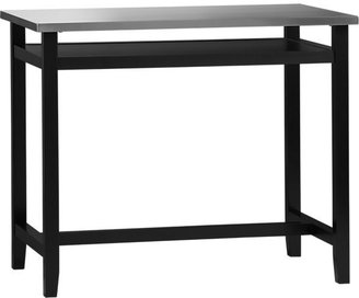 Crate & Barrel Belmont Black Work Table with Stainless Steel Top