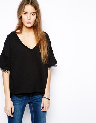 French Connection French Connection;;NOTGOOGLE;; Kelby Short Sleeved V Neck Top - Black