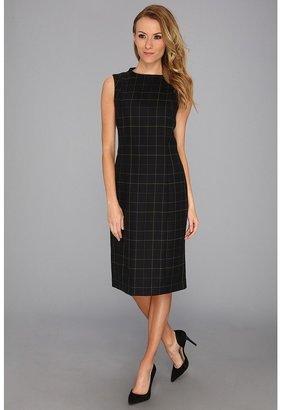Pendleton Worsted Wool Simone Sheath Dress (Black Worsted Windowpane) - Apparel