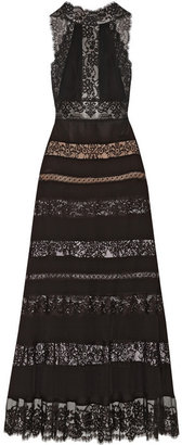 Paneled lace and cotton-blend georgette gown