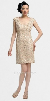 Sue Wong Short Cap Sleeve Sheath Dress