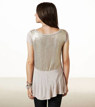 American Eagle AE Glitter Back T-Shirt