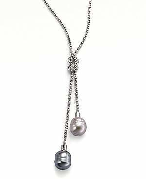 Majorica Women's 14MM Grey and Nuage Baroque Pearl & Sterling Silver Lariat Necklace