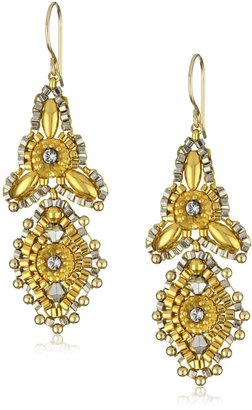 Miguel Ases Gold Beaded 14K Gold Filled Mini 3-Point Drop Earrings