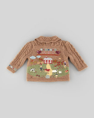 Ralph Lauren Knit Sampler Cardigan, Scottish Sampler, 3-9 Months