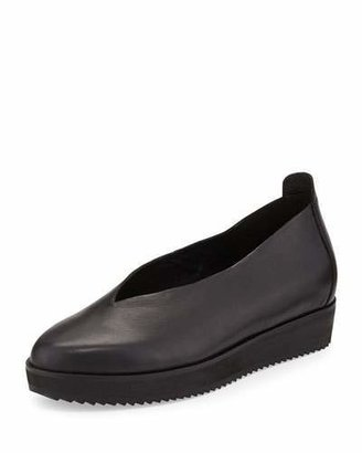 Eileen Fisher Canoe 2 Leather Slip-On, Black $175 thestylecure.com