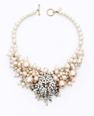 Ann Taylor Large Pearlized Bead and Crystal Statement Necklace