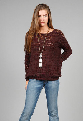 Vince Loose Knit Boatneck Sweater in Wine -