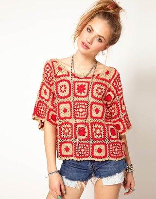 MinkPink Soul Hunter Blanket Top in Crochet